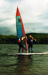 Loch Ard Windsurfing 1986 Forest Hills Timeshare Watersports (Doug_Cook) Tags: cold water 35mm scotland windsurfing leisure watersports 1986 wetsuit foresthills aberfoyle mistral dougcook lochard kinlochard mistralwindsurfing lochardforesthillshotelwatersports foresthillshotelkinlochard