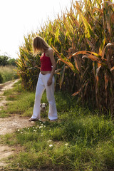 Country scene (Theophilos) Tags: dog nature girl field corn country