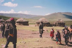 Lesotho, South Africa 2000 003 (Dorsetized) Tags: family landscape african tribal huts together remote wilderness wellies undeveloped localcustom