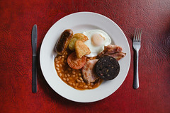Koffee Pot full English (lomokev) Tags: red england canon manchester eos bacon beans northernquarter unitedkingdom folk egg knife sausage plate 5d friedegg bakedbeans hashbrowns fryup beanz blackpudding fullenglish canoneos5d saintgeorgescross mancester koffeepot