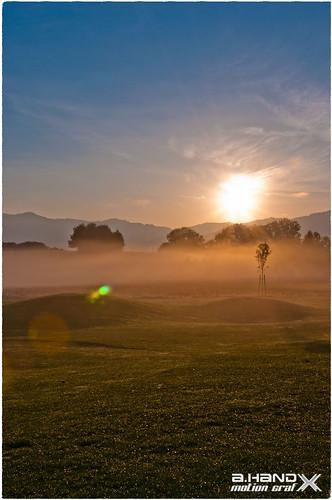 Morgens unweit Loch 9 auf dem Golfplatz