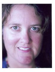 saturday self portrait (EllenJo) Tags: selfportrait face self polaroid september hazeleyes 2012 landcamera instantfilm september15 fujifp100c age40 bornin1972 polaroidpathfinder rollfilmcameraconvertedtopackfilm convertedpathfinder closeuplensplus2