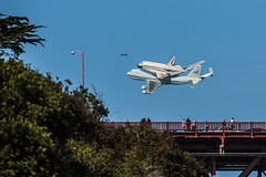 Endeavour Flies by the Golden Gate Bridge (phil_mcgrew) Tags: sanfrancisco sca nasa goldengatebridge spaceshuttle 747 endeavour