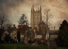 St. Edmundsbury Cathedral.... (Wire_cat) Tags: texture psp shrine cathedral paintshoppro burystedmunds abbeyruins manipulatedimage stedmund stedmundsburycathedral nikond40 texturedimage wirecat artistictreasurechest kurtpeiserexcellence coppercloudsandsilvernsun