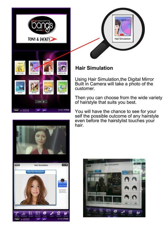 Hair simulation using the digital mirror at Bang's Tony & Jackey Korean Hairstylist
