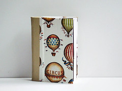 quarter leather circus jotter (RUaDSarah) Tags: christmas travel red leather paper notebook gold book handmade circus journal gift hotairballoon bound stitched binding handstitched photoalbum stockingstuffer blankbook ledger jotter handbound leatherjournal boundbook quarterleather