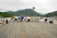 No cars, just bikes (moke076) Tags: trip travel vacation people mountains ferry river cycling austria boat scenery europe random valley spitz danube wachau