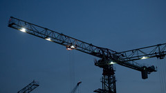 Crane (iamabcd [back to posting]) Tags: sunset silhouette singapore central olympus cranes tampines ep3