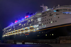 disney wonder panorama (pbo31) Tags: sanfrancisco california panorama black northerncalifornia night port wonder nikon ship panoramic disney september cruiseship sail stitched northpoint 2012 d700
