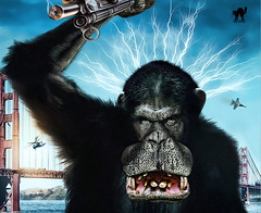 THE RISE OF THE PLANET OF THE HIPPO-APES (10+ pix-mix) (The PIX-JOCKEY (visual fantasist)) Tags: sanfrancisco bridge portrait sky cinema film photoshop movie poster airplane landscape monkey scary joke smoke fear rifle fake humour goldengate scream ape horror photomontage rise ritratto lightining fotomontaggi elicopter scimmia robertorizzato pixjockey