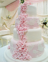 Pink Rose Wedding Cake