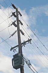PECO 3-ph. pole transformer (en tee gee) Tags: transformer pennsylvania pole insulators 4kv 33kv