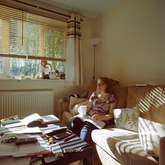 At Home (philaylen) Tags: bronica sqa 120 kodak ektar zenzanon 80mm iso100 home flat tea knitting window london tottenham hale afternoon sunday relaxation girl