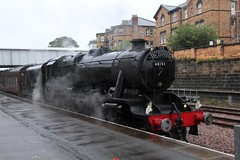 """Stanier LMS 8F No. 48151 simmers in Platform 1 at Scarborough Station with 1Z27 WCR """"Scarborough Spa Express""""  (steamdriver12) Tags: stanier lms 8f no 48151 simmers platform 1 scarborough station 1z27 wcr west coast railway company spa express smoke steam coal oil preservation heritage summer august rain stair rods"""