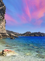 Relax Mode in Taormina #italia #italy #beach #relax #sky #clouds #light #shadow #colours #holidays #sea (mr_rickygule) Tags: italia italy beach relax sky clouds light shadow colours holidays sea