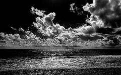 sparkle (littletinperson) Tags: clouds blackandwhite bw bn beach ocean seashore walk indialantic florida sparkle surf waves iphone provokecamera littletinperson