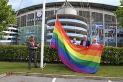 Etihad rainbow flag raising  (23) (villagemanchesterfc) Tags: rainbowflag manchestercity manchestercityfc manchestercityfootballclub football soccer gayfootball gaysoccer gay homosexual bisexual canalstreetblues etihadstadium