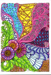 Entangled - 003 (ronniesz) Tags: zentangleinspiredart adultcoloring tangles doodles flowers coloring visualarts linedrawing nature organic watercolorpencils whimsy