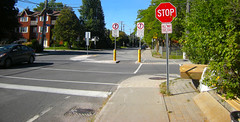 Inscrutable intersection - maladaption (UrbanGrammar) Tags: urban new urban urbanism streets traffic pedestrian realm fused grid zones main street culdesac loop neighbourhood street patterns healthy urbanism mobility accessibility tranquility safety delight infrastructure connectivity urban park carfree adaptation mixeduse ottawa