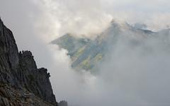 Shangri-La (CMWilhelm) Tags: hidden lake lookout ridge scree boulders mountains north cascades morning mist fog valley