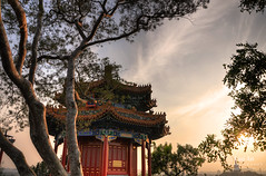 Pavilion on Jingshan Hill (Jingshan Park, Beijing) (Andy Brandl (PhotonMix)) Tags: china trees sky architecture golden pagoda haze nikon day afternoon traditional beijing pavilion jingshanpark jinshan ornamented photonmix laoan