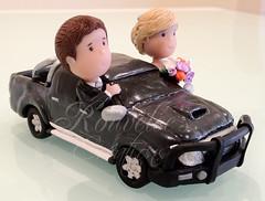 Toyota Hilux Wedding Cake Topper (Rouvelee's Creations) Tags: polymerclay weddingcaketopper figuremodelling brideandgroomcaketopper rouvelee customisedbrideandgroom