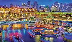 Clarke Quay & Riverside Point at the Blue Hour... (williamcho) Tags: food tourism architecture river boats singapore colorful beers fb ngc central restaurants entertainment clubs nightlife bluehour pubs attraction clarkequay dazzling canopies atraction traillights riversidepoint colorphotoaward flickraward simplysuperb flickrestrellas readbridge nikonflickraward topazlabadjust flickrtravelaward pixoto ©williamcho2012