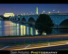 Arlington Memorial Bridge at Dusk - Washington, D.C. (Sam Antonio Photography) Tags: city nightphotography blue usa history cars water architecture outdoors virginia washingtondc districtofcolumbia memorial cityscape unitedstates dusk nopeople transportation lincolnmemorial northamerica potomac government lighttrails washingtonmonument patriotism lightstreaks midatlantic robertelee travelphotography capitalcities traveldestinations famousplace americanculture arlingtonmemorialbridge buildingexterior theamericas americanpresidents arlingtonbridge easternusa washingtondcatnight midatlanticusa washingtondcattractions visitingwashingtondc movingactivity samantonio 2012presidentialcampaign washingtondcmonumentsandmemorials samantoniocom photographingwashingtondc washingtondcbluehour washingtondcphotolocations washingtondcphotographyguide