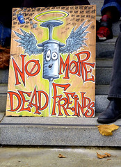 NO MORE......... (Lulu Vision) Tags: sanfrancisco urban sign cityhall painted rally antidrug sfist streetmessage naloxone nomoredeadfriends internationaloverdoseawarenessday overdosepreventionproject overdosereversal
