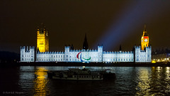 paralympics light show on the houses of Parliament - 3 - the olympic logo / agitos (Patrick Mayon) Tags: houses england london night logo landscape parliament bigben londres angleterre lightup paysage lightshow nuit 2012 urbanlandscape paralympics lightandsoundshow