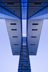 Stairway to heaven (NRG Photos) Tags: blue architecture pov perspective cologne wideangle kln flats staircase architektur blau rhine rhein ledzeppelin offices stairwaytoheaven treppenhaus weitwinkel cranehouse blickwinkel wohnungen bros kranhaus vanogram