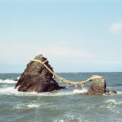 k (Kevin Tadge / Laura Lamp) Tags: ocean sea 120 6x6 mamiya film water japan analog square rocks shrine kodak medium format portra mie 160 rb67 wedded iwa meoto