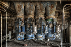 Four Cement Mugs On Tap (billmclaugh) Tags: plant abandoned industry canon rebel rust industrial factory pipes cement silo tokina warehouse urbanexploration silos dust 1224mm hdr highdynamicrange urbex cemex photomatix southwestportland xti calamityville promotecontrol