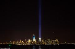 Manhattan from Staten Island (John Skelson) Tags: newyorkcity nightphotography worldtradecenter 911 manhattanskyline statenisland reallyrightstuff gitzotripod tributeinlights 911tributeinlights nikond7000 sigma120400mmlens johnskelson 911lights12