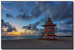 The Guardian (Fraggle Red) Tags: longexposure cruise lighthouse clouds dawn moving movement twilight florida jetty earlymorning cruiseship miamibeach southbeach hdr returning carnivalcruise lifeguardstand southpointe lifeguardhut 5exp canonef1635mmf28liiusm miamidadeco dphdr