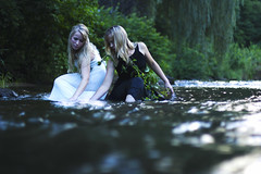 Purifying (DewDrop17) Tags: family friends white nature night sisters digital creek canon 50mm colorful pretty bright dusk blondes memories surreal blues peaceful northcarolina adventure fantasy ethereal blonde mystical creatures weepingwillow magical weeping enchantment nymphs companionship waternymphs whitedresses mysticalcreatures makingmagic surene beforethebedtimestories ilikemakingbedtimestoriesreal