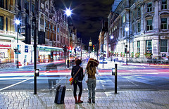 Waiting for the Lights to Change at Trafalgar Square (Anatoleya) Tags: city people 3 london night canon square prime evening stream long exposure crossing traffic mark f14 iii central trafalgar bigben le 5d 24mm whitehall londoncalling flickrfriday f14l 5d3 anatoleya