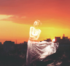 rise of a ballerina (Regina Leah) Tags: sunset portrait sky woman sun motion girl silhouette skyline fly movement dress sundown wind overlay regina reginaleah