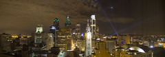 2012 09 21 - 417,420,422,427,428 - Philly - View from Hotel (thisisbossi) Tags: urban usa philadelphia night skyscrapers unitedstates pennsylvania towers cities cityscapes skylines panoramas pa philly stitched spotlights panoramics loewshotel openairphilly openairphiladelphia