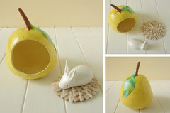 Bunny on a yellow pear (Sombrilla Verde) Tags: rabbit bunny yellow acrylic handmade craft felt polka dot pear figurine leafs whimsical