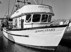 Shrimp Trawler John Start - Ventura Harbor - GS645S - HP5+ (divewizard) Tags: ocean california sea blackandwhite bw white black 120 blancoynegro film blanco analog mediumformat boat blackwhite fishing analgica 645 noir pacific noiretblanc 14 negro rangefinder ilfordhp5 commercial fujifilm hp5 60mm woodenboat fishingboat 6x45 blanc ilford f4 ventura venturacounty hp5plus pelcula woodboat venturaharbor blackwhitephotos gs645s commercialfishingboat ncps shrimptrawler ebcfujinon northcoastphotographicservices bottomtrawler 6x4 johnstart 60mmebcfujinonw