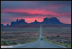 Pink Mile (Aaron M Photo) Tags: road trip sunset vacation southwest nature beauty car clouds landscape utah nationalpark nikon sandstone butte desert spires parks spire land moab oregontrail rv computergame mesa saddleback mesas stagecoach pinks 13mile buttes mile13 sr163 epicview historicalview kingonhisthrone aaronmeyersphotography