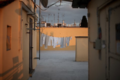 clothes hanging on roof