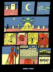 Tesla Rises (warm + fuzzy) Tags: graveyard illustration poster fire comic power drawing zombie alien cartoon ufo electricity tesla