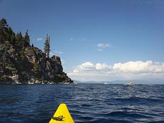 The shore at D. L. Bliss State Park (thamiter) Tags: california lake mountains water northerncalifornia kayak tahoe laketahoe september pointandshoot sierras sierranevada mountainlake 2012 campingtrip dlblissstatepark c123 vogonpoetry shotfromakayak kodakeasysharesport neckylookshasportlv