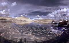 Inveraray (Kriegaffe 9) Tags: shadow sky reflection water clouds boats ship fisheye loch inveraray samyang