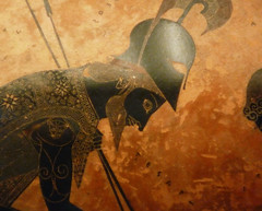 Exekias, Attic black figure amphora, detail with Achilles's face