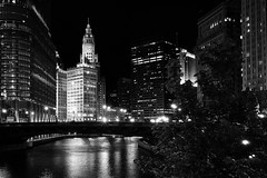 Chicago River (Neilheeney) Tags: longexposure bridge blackandwhite bw white chicago black night river lights mono noir nightshot sony cybershot wrigley chicagoriver afterdark rx100 dscrx100