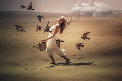 The girl and the cloud (sophie_merlo) Tags: surreal fantasy beach girl model models art artistic digitalart photoshop surrealist surrealism birds cloud walk stroll rain wateringcan gardening water