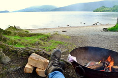 DSC_0203-001 (bainesthomas) Tags: loch lomond relaxing fire pit view calm scotland travel adventure camping logs log cosy